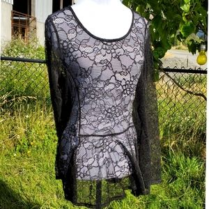 Tops - Long Sleeve Lace Top in Black - XL